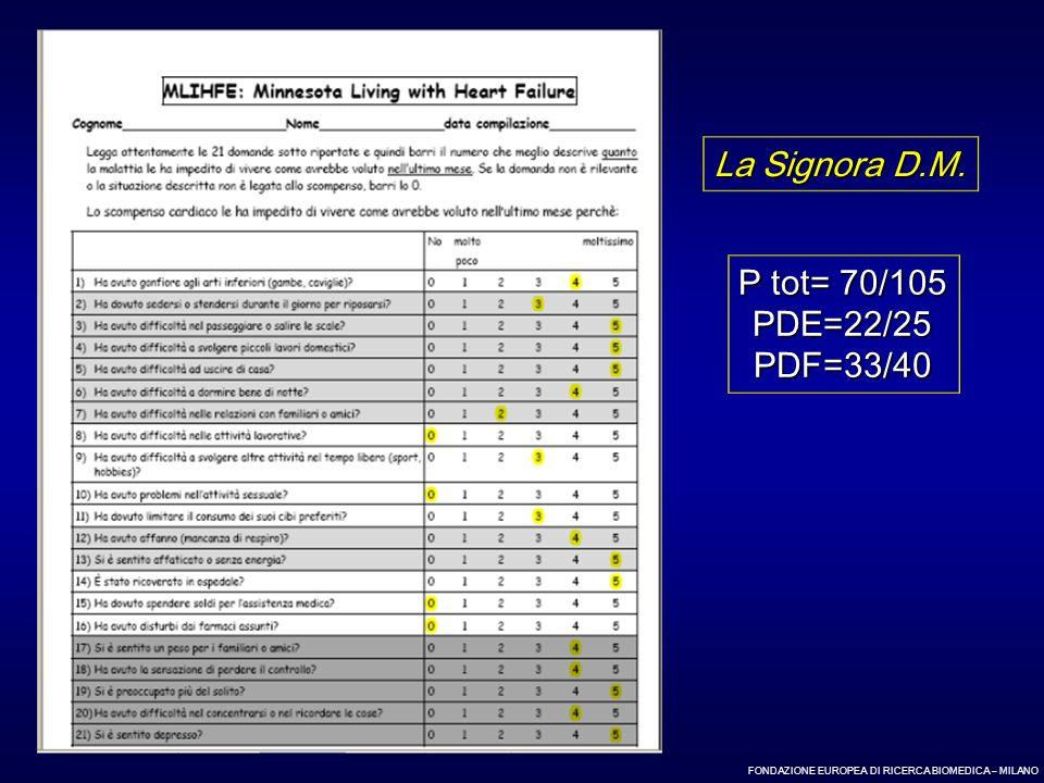 FONDAZIONE EUROPEA DI RICERCA BIOMEDICA – MILANO P tot= 70/105 PDE=22/25PDF=33/40 La Signora D.M.