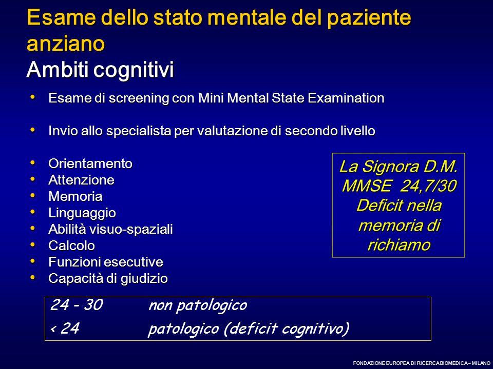 Esame dello stato mentale del paziente anziano Ambiti cognitivi Esame di screening con Mini Mental State Examination Esame di screening con Mini Menta