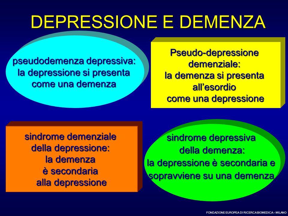 FONDAZIONE EUROPEA DI RICERCA BIOMEDICA – MILANO DEPRESSIONE E DEMENZA pseudodemenza depressiva: la depressione si presenta come una demenza Pseudo-de