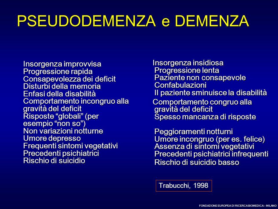 FONDAZIONE EUROPEA DI RICERCA BIOMEDICA – MILANO PSEUDODEMENZA e DEMENZA Insorgenza improvvisa Progressione rapida Consapevolezza dei deficit Disturbi