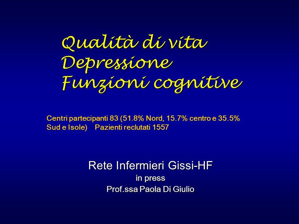 Qualità di vita Depressione Funzioni cognitive Qualità di vita Depressione Funzioni cognitive Rete Infermieri Gissi-HF in press Prof.ssa Paola Di Giul