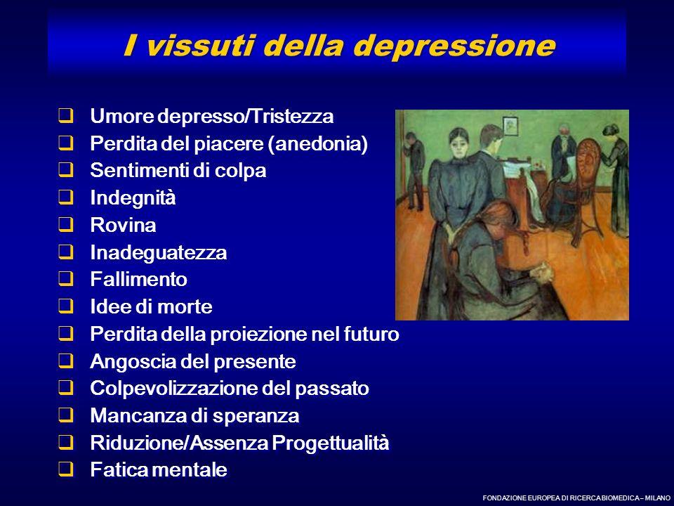 FONDAZIONE EUROPEA DI RICERCA BIOMEDICA – MILANO Umore depresso/Tristezza Perdita del piacere (anedonia) Sentimenti di colpa Indegnit à Rovina Inadegu