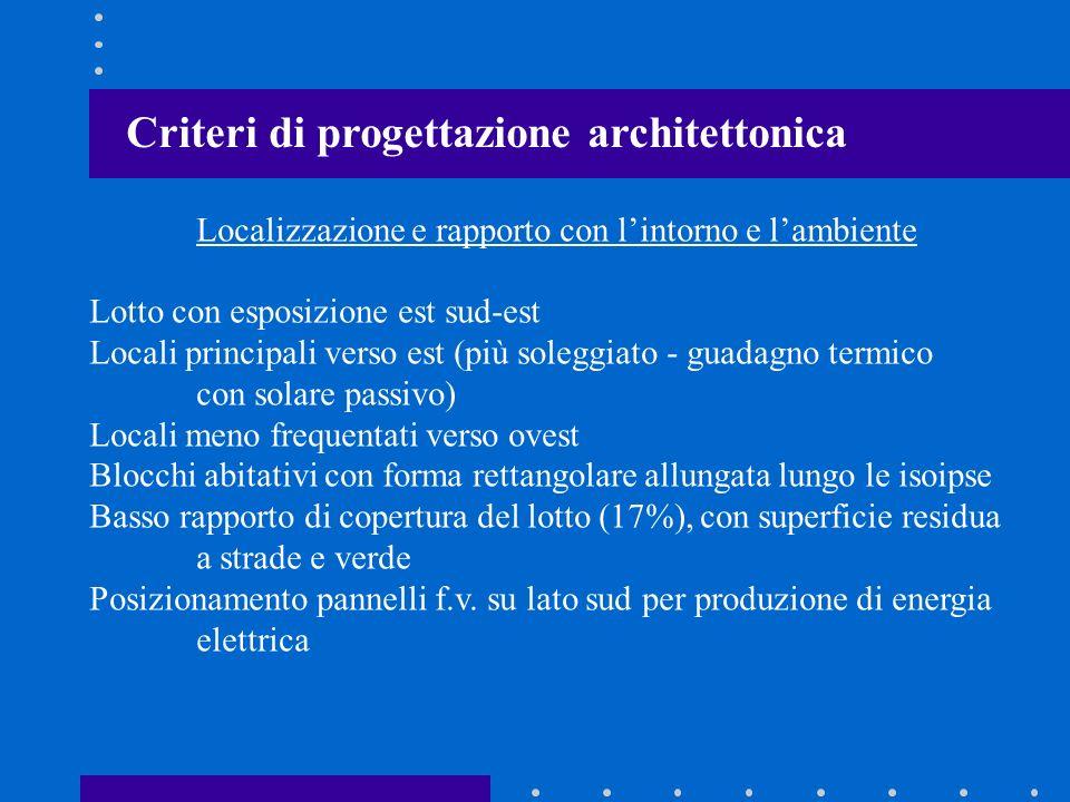 Criteri di progettazione architettonica Localizzazione e rapporto con lintorno e lambiente Lotto con esposizione est sud-est Locali principali verso e