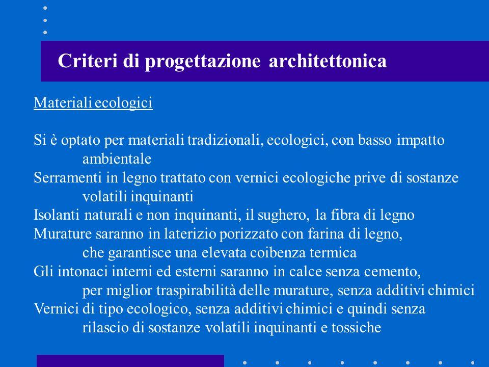 Criteri di progettazione architettonica Materiali ecologici Si è optato per materiali tradizionali, ecologici, con basso impatto ambientale Serramenti