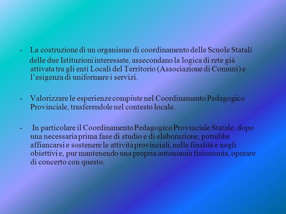 Lidea di un coordinamento delle Scuole dellinfanzia statali nasce dalla continuità con il Coordinamento pedagogico Provinciale, di cui questa istituzi
