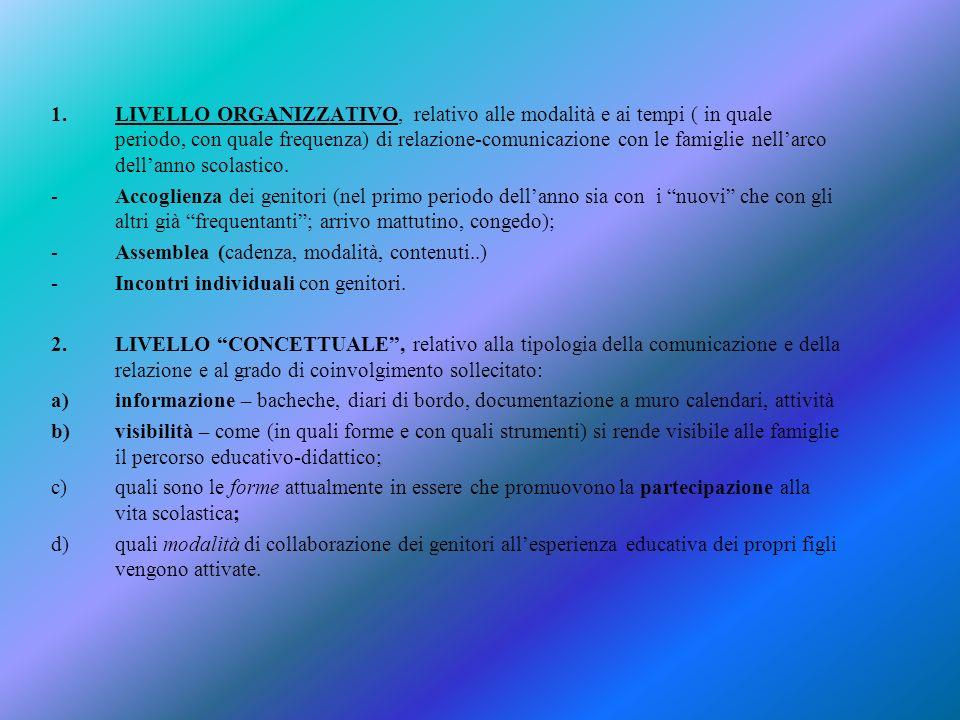 1.LIVELLO ORGANIZZATIVO, relativo alle modalità e ai tempi ( in quale periodo, con quale frequenza) di relazione-comunicazione con le famiglie nellarco dellanno scolastico.