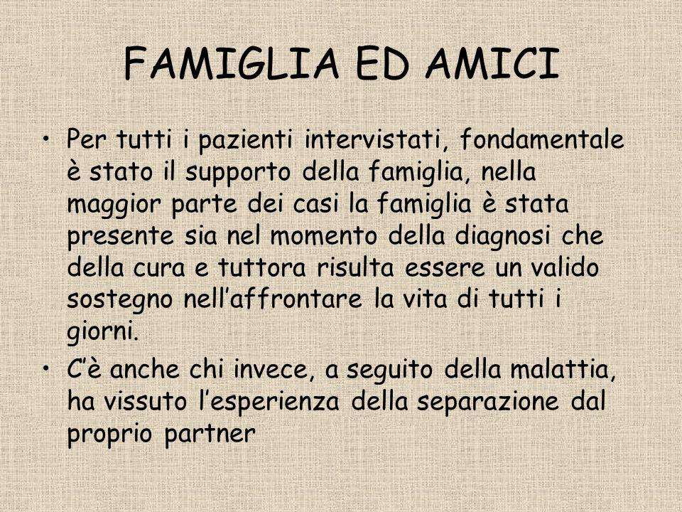 FAMIGLIA ED AMICI Per tutti i pazienti intervistati, fondamentale è stato il supporto della famiglia, nella maggior parte dei casi la famiglia è stata presente sia nel momento della diagnosi che della cura e tuttora risulta essere un valido sostegno nellaffrontare la vita di tutti i giorni.