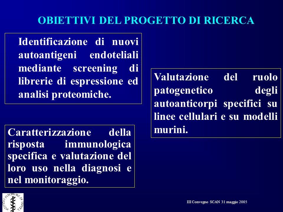 III Convegno SCAN 31 maggio 2005 Identificazione di nuovi autoantigeni endoteliali mediante screening di librerie di espressione ed analisi proteomich