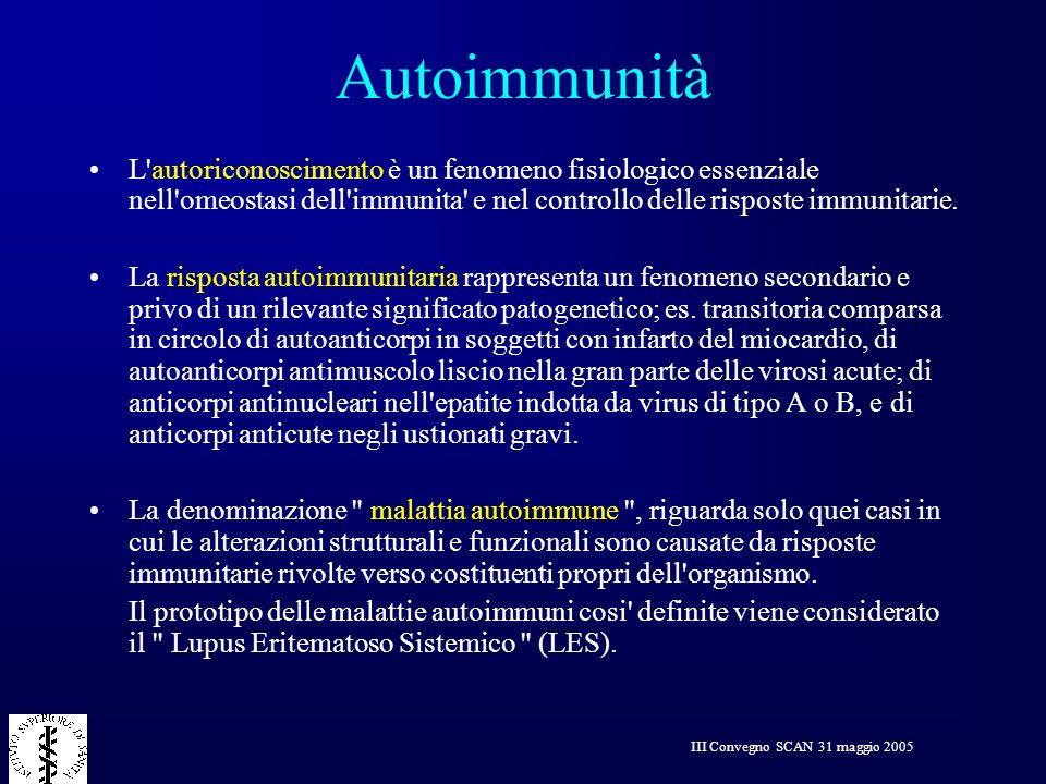 III Convegno SCAN 31 maggio 2005 Autoimmunità L'autoriconoscimento è un fenomeno fisiologico essenziale nell'omeostasi dell'immunita' e nel controllo