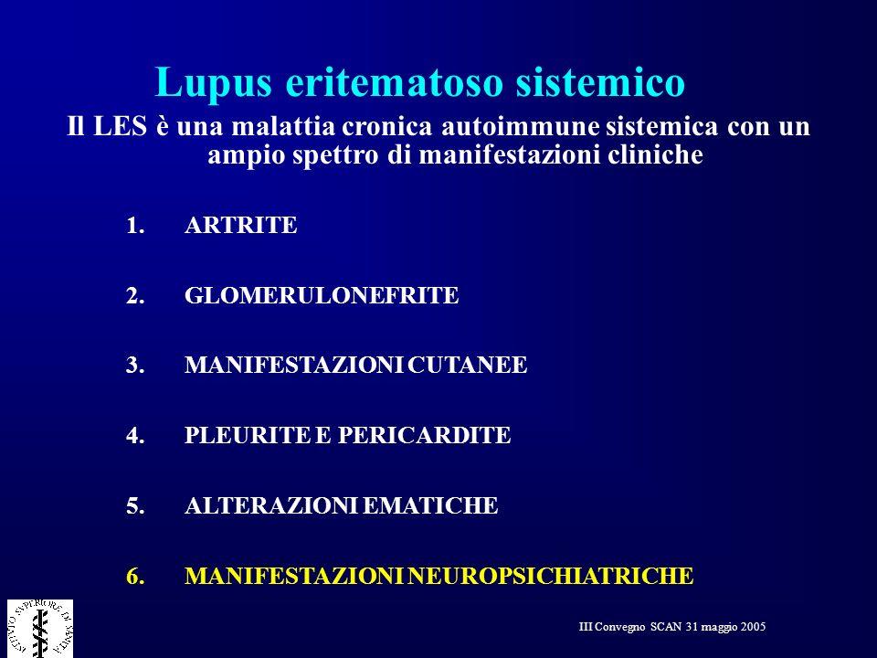 III Convegno SCAN 31 maggio 2005 Manifestazioni psichiatriche nel LES Reazioni psicologiche alla malattia cronica Aspetti legati all effetto collaterale di alcuni farmaci assunti (cortisone in particolare) Eventuali aspetti riguardanti la personalita premorbosa del paziente Manifestazioni neuropsichiatriche dovute a danni organici propri del Lupus Eritematoso Sistemico (NEURO-LES)