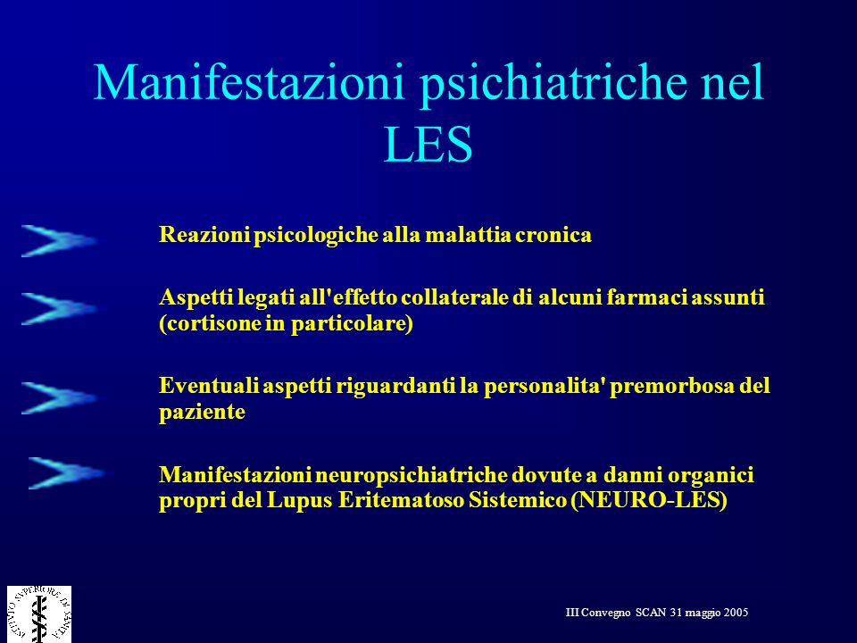 III Convegno SCAN 31 maggio 2005 Acute confusional state Guillain-Barrè syndrome Anxiety disorder Aseptic meningitis Cerebrovascular disease Cognitive dysfunction Demyelinating syndrome Headache Mononeuropathy Transverse myelopathy Mood disorder Movement disorder Myasthenia gravis Autonomic neuropathy Plexopathy Polyneuropathy Psychosis Seizure disorders Sindromi neuropsichiatriche definite dal ACR Research Committee