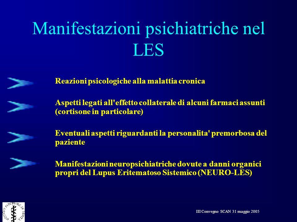 III Convegno SCAN 31 maggio 2005 Manifestazioni psichiatriche nel LES Reazioni psicologiche alla malattia cronica Aspetti legati all'effetto collatera