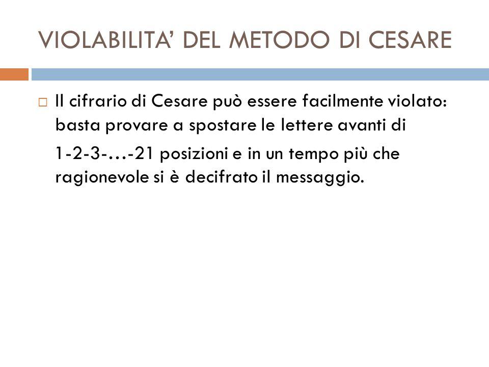 VIOLABILITA DEL METODO DI CESARE Il cifrario di Cesare può essere facilmente violato: basta provare a spostare le lettere avanti di 1-2-3-…-21 posizio