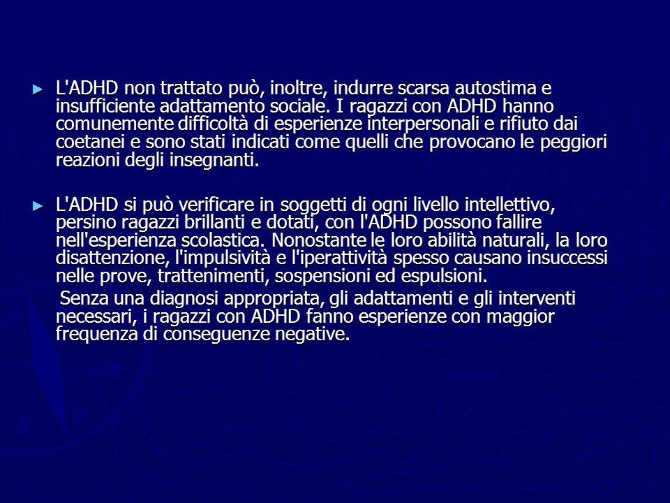 L ADHD non trattato può, inoltre, indurre scarsa autostima e insufficiente adattamento sociale.