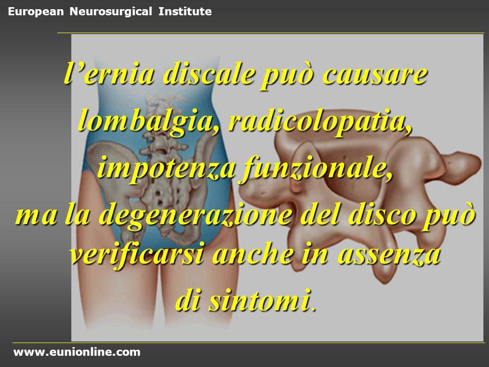 www.eunionline.com European Neurosurgical Institute edema Ostacolo al microcircolo Ischemia, acidosi dolore Contratture dei paravertebrali DISFUNZIONENEUROLOGICA CONFLITTO MECCANICO tossicità
