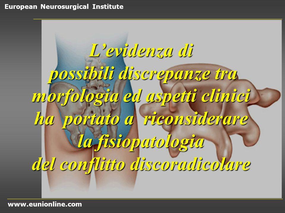 www.eunionline.com European Neurosurgical Institute numerosi studi di diagnostica per immagini hanno provato che le ernie del disco lombare, in unelevata quota di casi, regrediscono del tutto o in larga parte (teplick,1985)