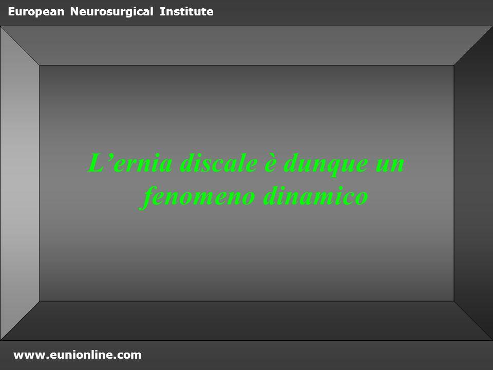 www.eunionline.com European Neurosurgical Institute Phospholipasi A2 in alta concentrazione nel tessuto erniato Acido arachidonico precursore di prostaglandine e leukotrieni INFIAMMAZIONE