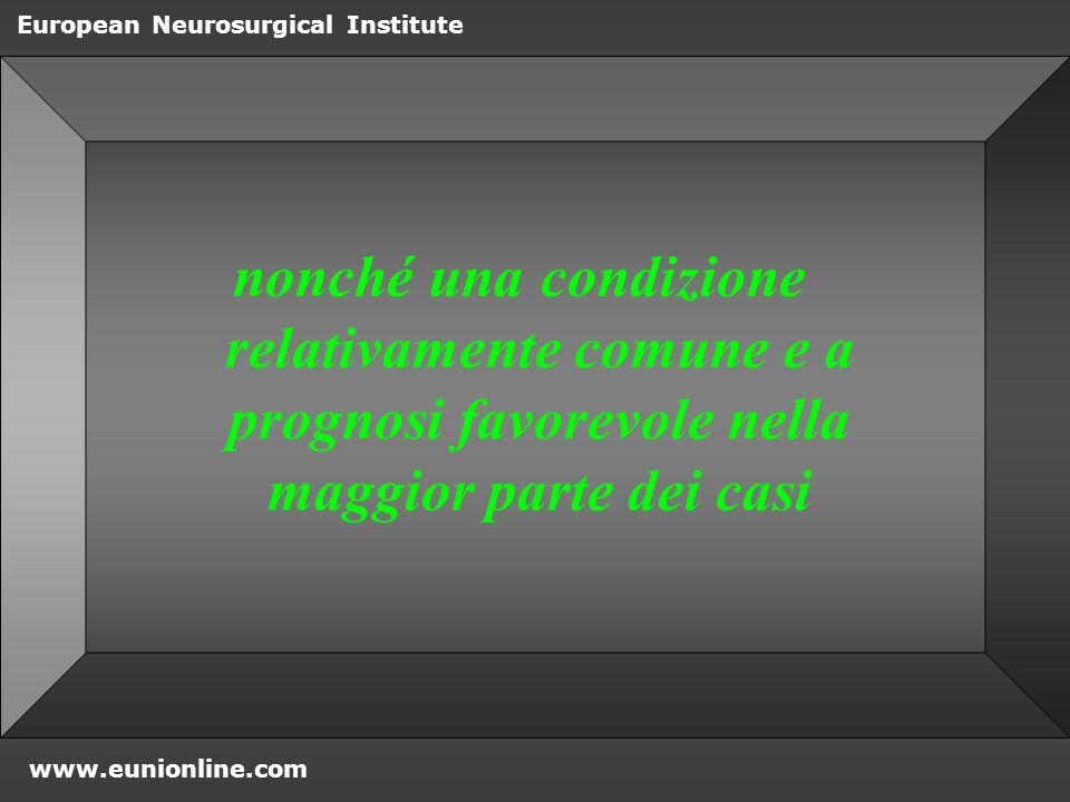 www.eunionline.com European Neurosurgical Institute Nucleoplastica: effetti biochimici Calo di Interleukina 1 (Il1) Che ha effetti iperalgesici Dopo 12 settimane aumento di Il8 Che può esprimere processi riparativi discali (ONeill, 2002)