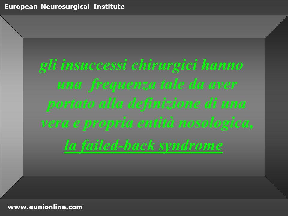 www.eunionline.com European Neurosurgical Institute ENZIMI prostaglandina E2, fosfolipasi A2 Sono elevati nel tessuto erniato e generano infiammazione e dolore Studi sul dolore