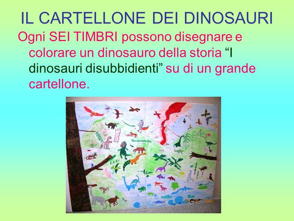 IL CARTELLONE DEI DINOSAURI Ogni SEI TIMBRI possono disegnare e colorare un dinosauro della storia I dinosauri disubbidienti su di un grande cartellon