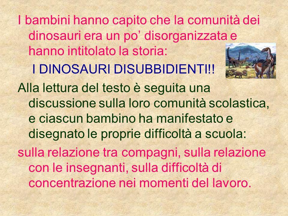 I bambini hanno capito che la comunità dei dinosauri era un po disorganizzata e hanno intitolato la storia: I DINOSAURI DISUBBIDIENTI!! Alla lettura d