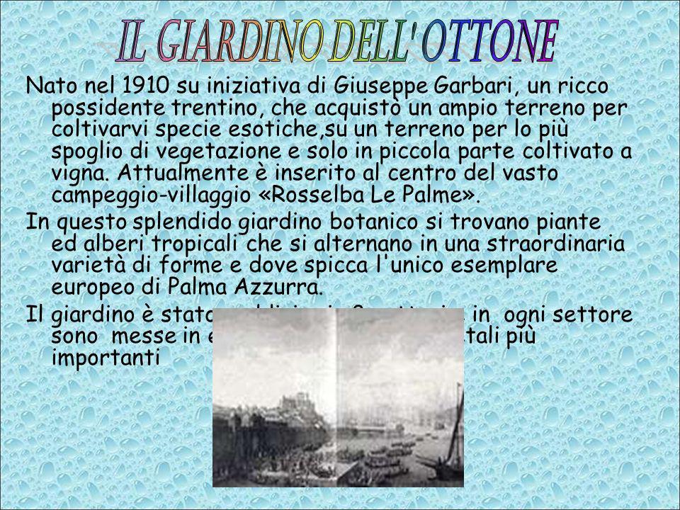 Nato nel 1910 su iniziativa di Giuseppe Garbari, un ricco possidente trentino, che acquistò un ampio terreno per coltivarvi specie esotiche,su un terr