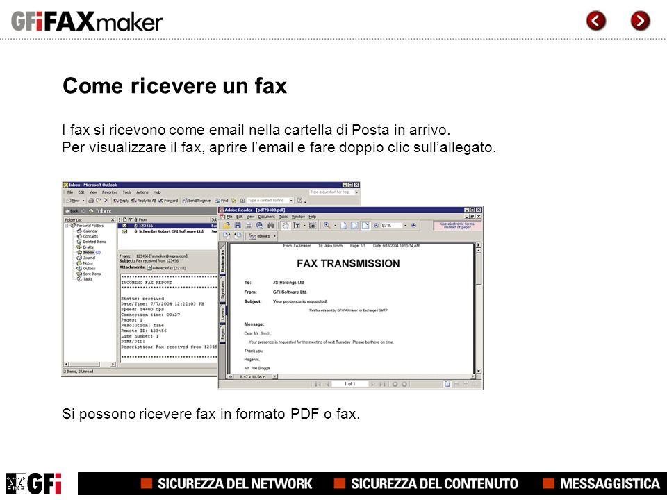 Come ricevere un fax I fax si ricevono come email nella cartella di Posta in arrivo.