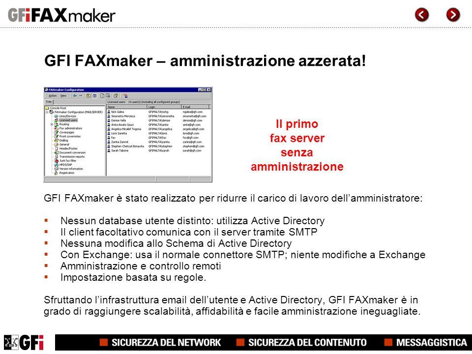GFI FAXmaker – amministrazione azzerata.