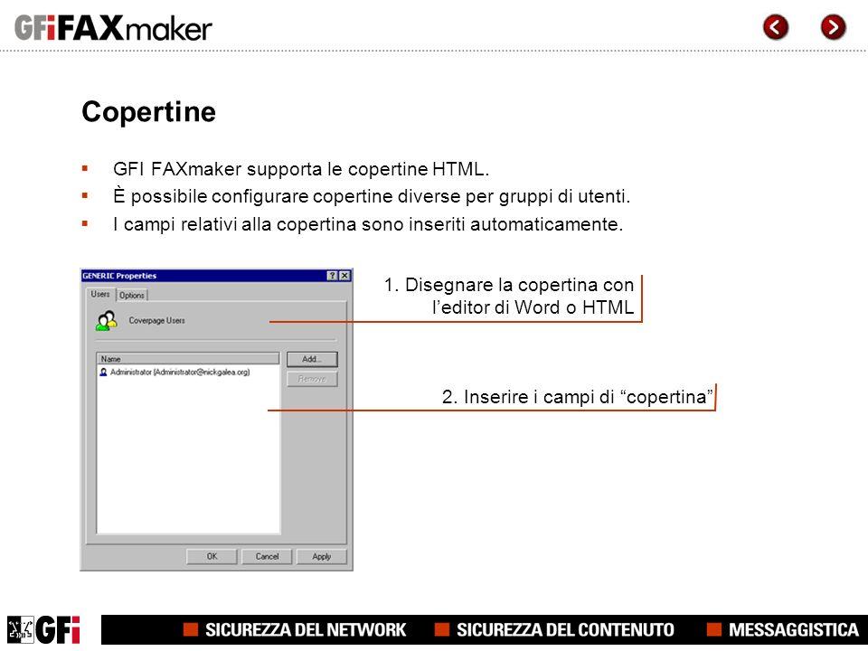 Copertine GFI FAXmaker supporta le copertine HTML.