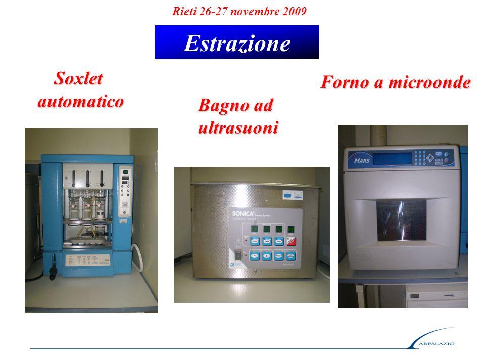 Rieti 26-27 novembre 2009 Estrazione Soxletautomatico Bagno ad ultrasuoni Forno a microonde