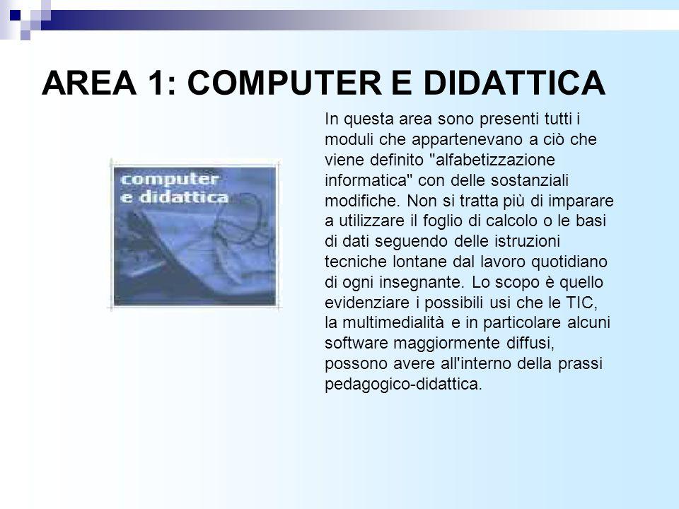 AREA 1: COMPUTER E DIDATTICA In questa area sono presenti tutti i moduli che appartenevano a ciò che viene definito alfabetizzazione informatica con delle sostanziali modifiche.