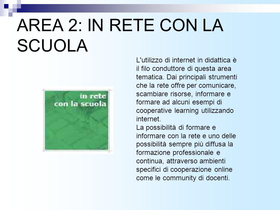 AREA 2: IN RETE CON LA SCUOLA L utilizzo di internet in didattica è il filo conduttore di questa area tematica.