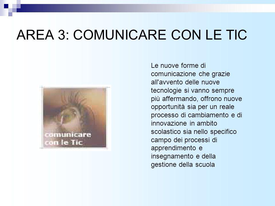 AREA 3: COMUNICARE CON LE TIC Le nuove forme di comunicazione che grazie all avvento delle nuove tecnologie si vanno sempre più affermando, offrono nuove opportunità sia per un reale processo di cambiamento e di innovazione in ambito scolastico sia nello specifico campo dei processi di apprendimento e insegnamento e della gestione della scuola