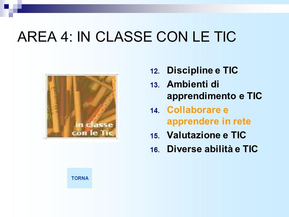 AREA 4: IN CLASSE CON LE TIC 12.Discipline e TIC 13.