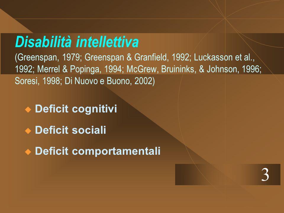 Il fallimento dei processi adattivi è in relazione alla istituzionalizzazione o alla re-istituzionalizzaizione (Van Der Gaag, 1989) Listituzionalizzazione si associa a scarsi livelli di competenza sociale e a scarse opportunità di esercizio delle stesse (Baker e Urquhart, 1987; Soresi, 1998).