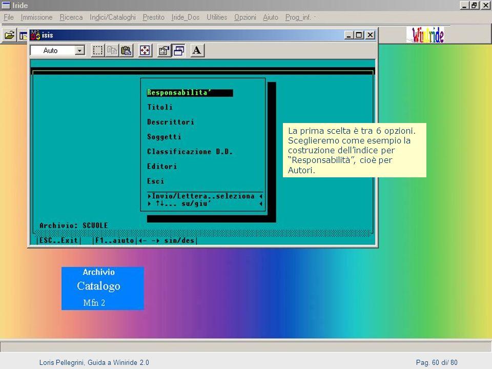 Loris Pellegrini, Guida a Winiride 2.0Pag.60 di/ 80 La prima scelta è tra 6 opzioni.