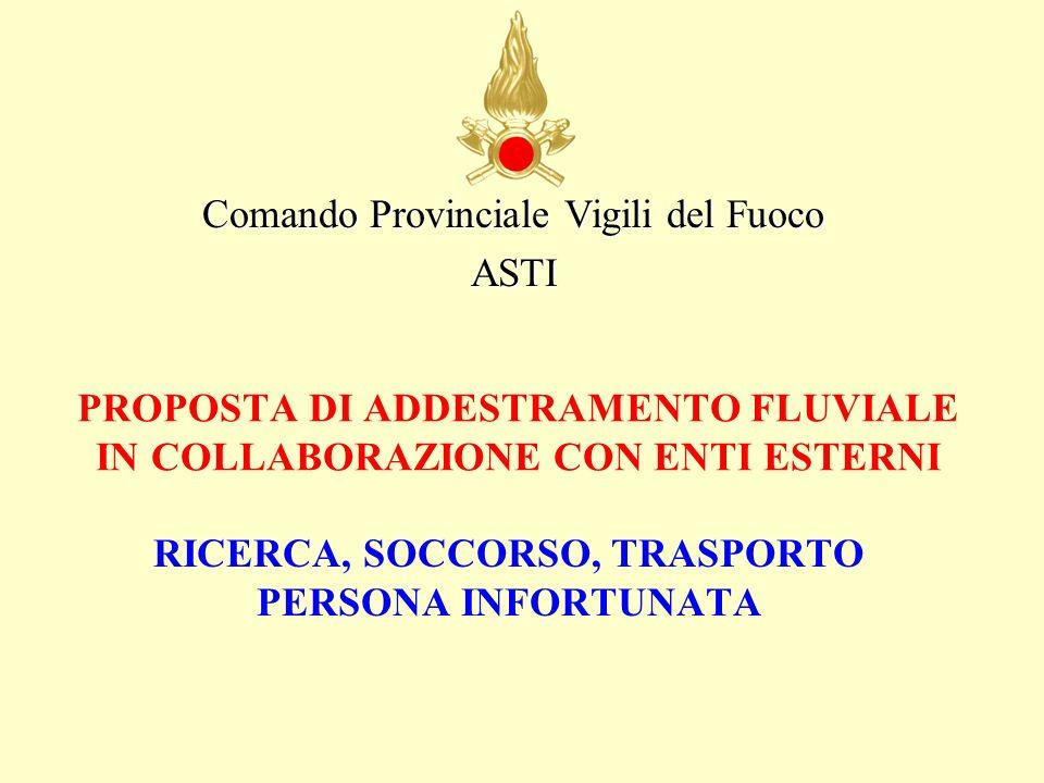 PROPOSTA DI ADDESTRAMENTO FLUVIALE IN COLLABORAZIONE CON ENTI ESTERNI RICERCA, SOCCORSO, TRASPORTO PERSONA INFORTUNATA Comando Provinciale Vigili del