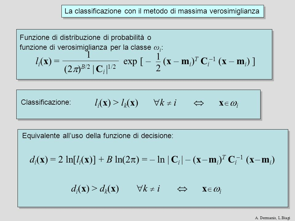 d i (x) > d k (x) k i x i d i (x) = 2 ln[l i (x)] + B ln(2 ) = – ln   C i   – (x – m i ) T C i –1 (x – m i ) l i (x) > l k (x) k i x i 1212 l i (x) =