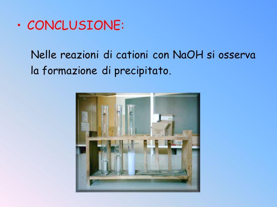 CONCLUSIONE: Nelle reazioni di cationi con NaOH si osserva la formazione di precipitato.