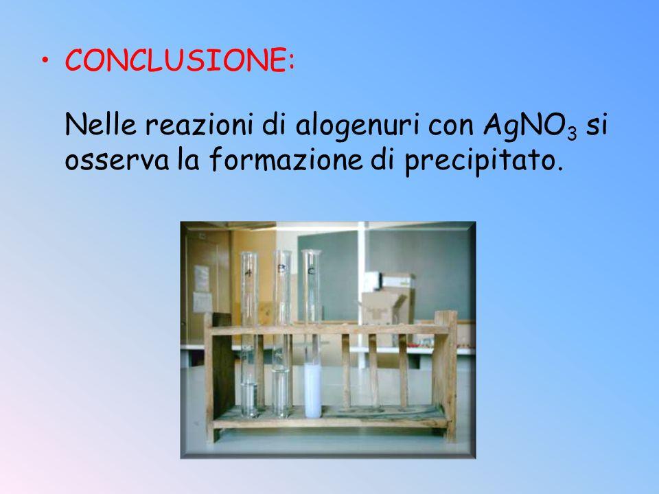 CONCLUSIONE: Nelle reazioni di alogenuri con AgNO 3 si osserva la formazione di precipitato.