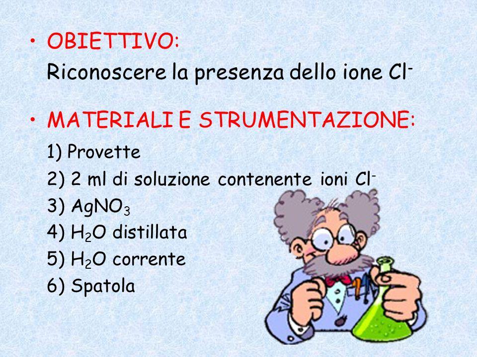 OBIETTIVO: Riconoscere la presenza dello ione Cl - MATERIALI E STRUMENTAZIONE: 1) Provette 2) 2 ml di soluzione contenente ioni Cl - 3) AgNO 3 4) H 2