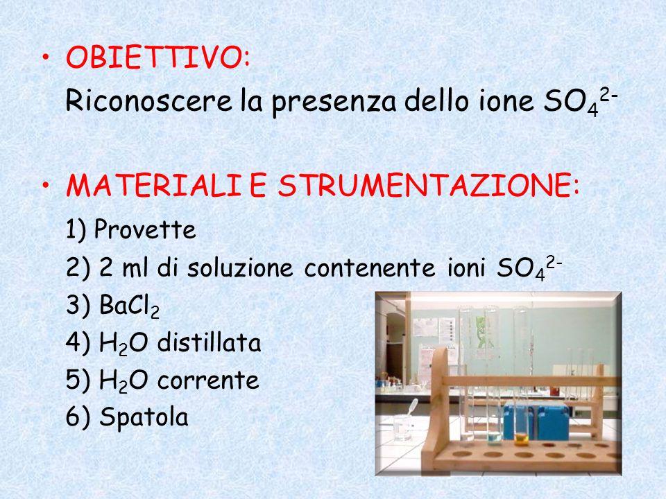 OBIETTIVO: Riconoscere la presenza dello ione SO 4 2- MATERIALI E STRUMENTAZIONE: 1) Provette 2) 2 ml di soluzione contenente ioni SO 4 2- 3) BaCl 2 4