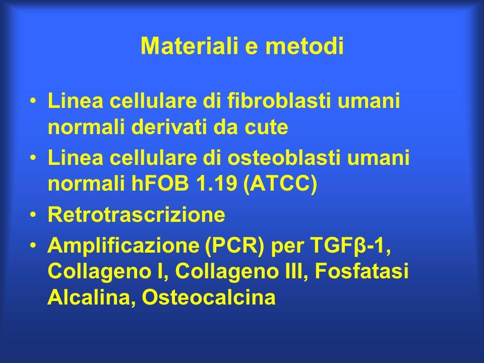Materiali e metodi Linea cellulare di fibroblasti umani normali derivati da cute Linea cellulare di osteoblasti umani normali hFOB 1.19 (ATCC) Retrotr