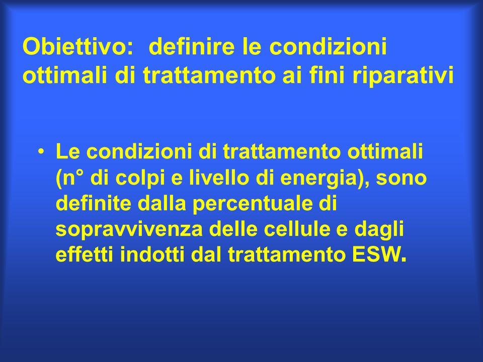 Obiettivo: definire le condizioni ottimali di trattamento ai fini riparativi Le condizioni di trattamento ottimali (n° di colpi e livello di energia),