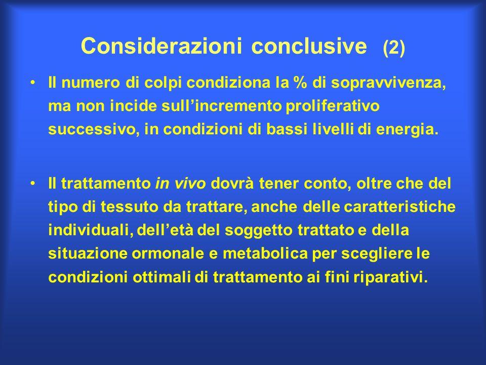 Considerazioni conclusive (2) Il numero di colpi condiziona la % di sopravvivenza, ma non incide sullincremento proliferativo successivo, in condizion