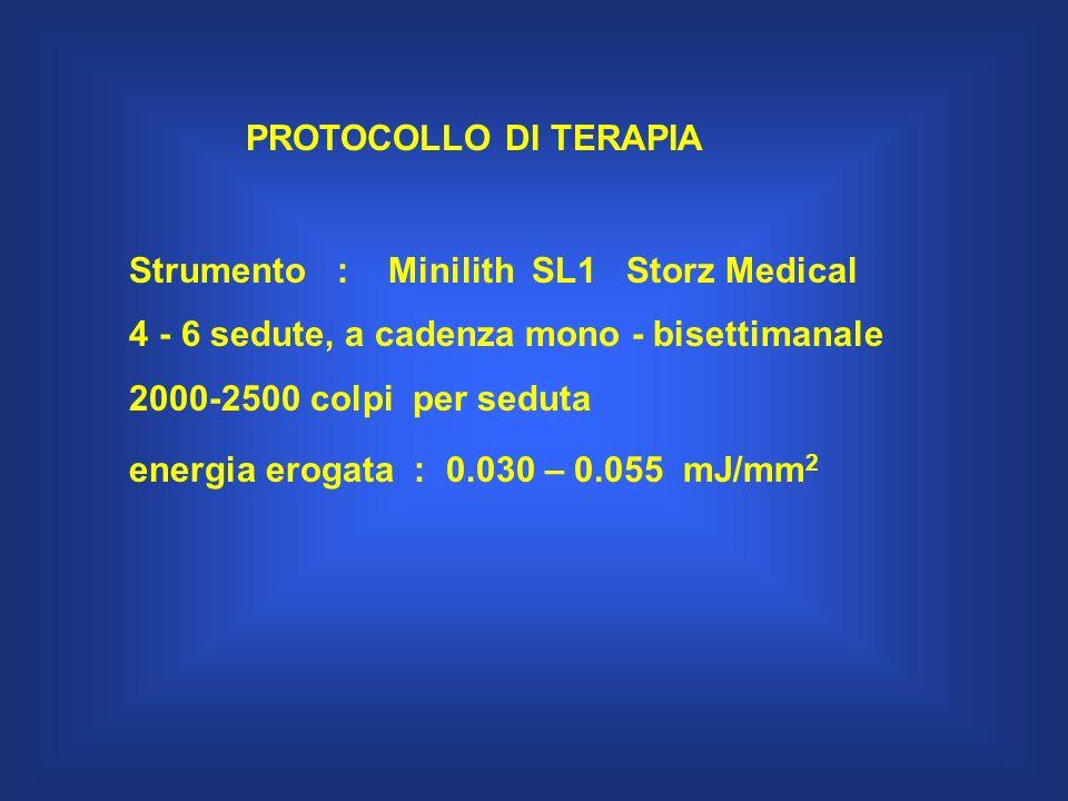 PROTOCOLLO DI TERAPIA Strumento : Minilith SL1 Storz Medical 4 - 6 sedute, a cadenza mono - bisettimanale 2000-2500 colpi per seduta energia erogata :