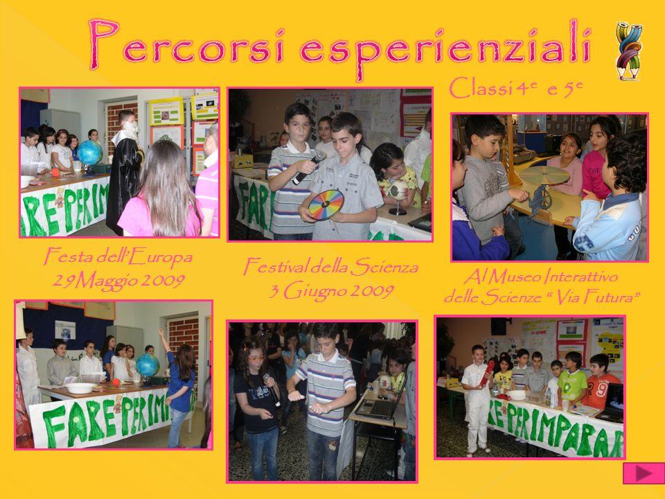 Festa dellEuropa 29Maggio 2009 Festival della Scienza 3 Giugno 2009 Classi 4 e e 5 e Al Museo Interattivo delle Scienze Via Futura