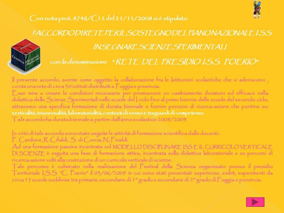 Con nota prot. 8746/C12 del 21/11/2008 si è stipulato lACCORDO DI RETE PER IL SOSTEGNO DEL PIANO NAZIONALE I.S.S. INSEGNARE SCIENZE SPERIMENTALI con l