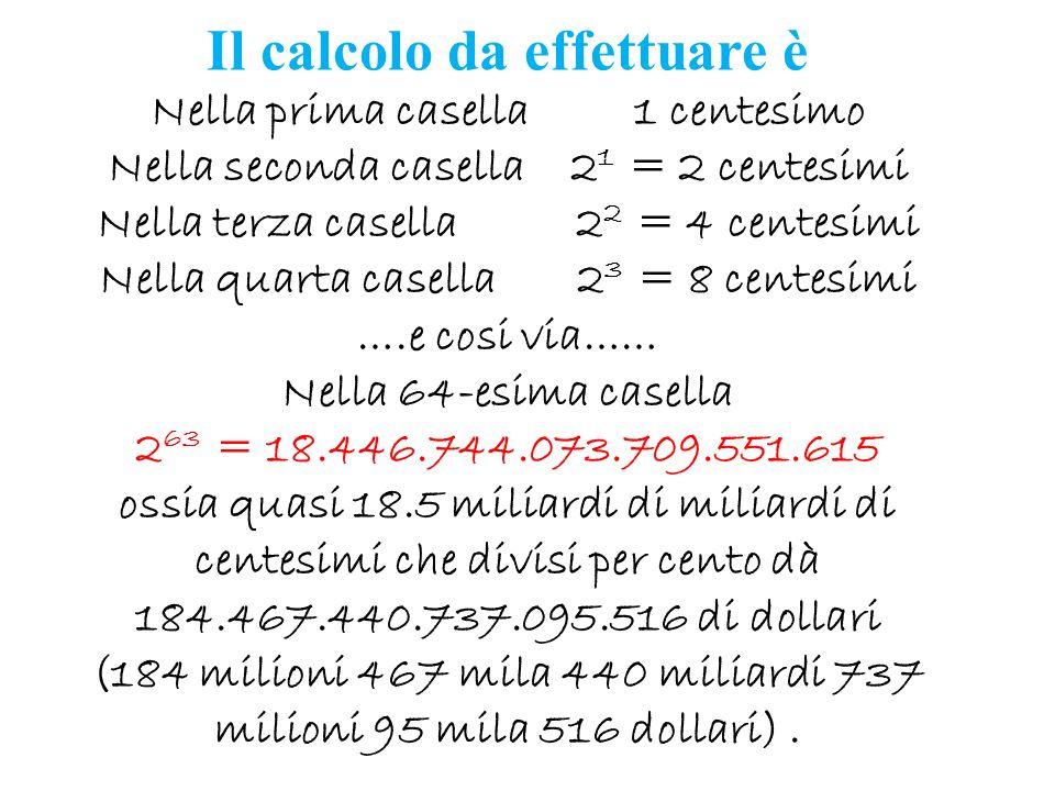 Il calcolo da effettuare è Nella prima casella 1 centesimo Nella seconda casella 2 1 = 2 centesimi Nella terza casella 2 2 = 4 centesimi Nella quarta