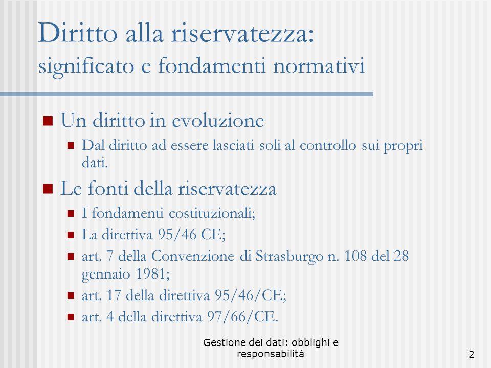 Gestione dei dati: obblighi e responsabilità22 Sito del Garante www.garanteprivacy.it